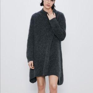 Zara Gray Mohair Wool Knit Mini Sweater Dress M